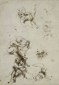 Sketches of  a child playing with a cat