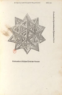 Engraving of a dodecahedron after Leonardo