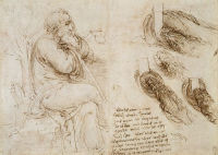 A seated old man and four studies of swirling water