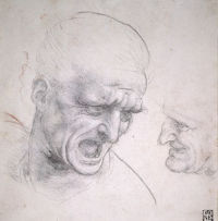 Studies of the heads of two soldiers in the Battle of Anghiari