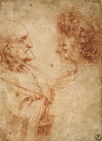 Two busts of men facing each other