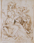 Young woman seated in a landscape with a unicorn