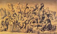 <em>The battle of Cascina</em>, Aristotile da Sangallo, after Michelangelo, c1542<br />