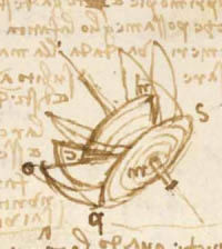 Codex Forster Book 1, Fol 44r - Studies of a pump for perpetual motion, detail © V&A Images, Victoria and Albert Museum